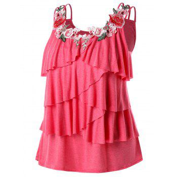 Plus Size Embroidery Layered Ruffle Tank Top - WATERMELON PINK L