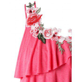 Plus Size Embroidery Layered Ruffle Tank Top - WATERMELON PINK 2X