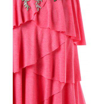 Plus Size Embroidery Layered Ruffle Tank Top - WATERMELON PINK 3X
