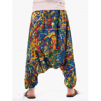 Retro Abstract Print Harem Pants - multicolor ONE SIZE