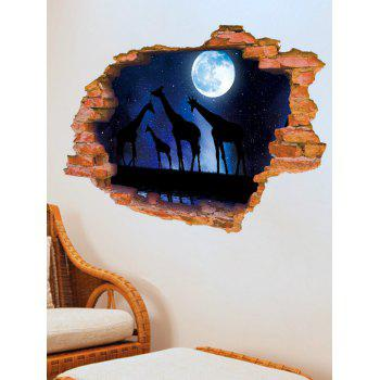 3D Broken Wall Starry Sky Giraffe Moon Removable Wall Sticker - DEEP BLUE