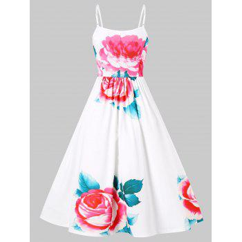 Spaghetti Strap Floral Fit and Flare Dress - WHITE M