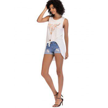 Asymmetrical Knotted Graphic Print Tank Top - MILK WHITE M