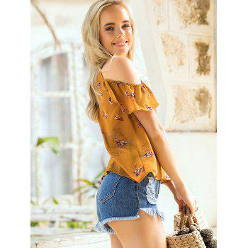 Floral Print Cold Shoulder Summer Blouse - SCHOOL BUS YELLOW XL