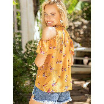 Floral Print Cold Shoulder Summer Blouse - SCHOOL BUS YELLOW L