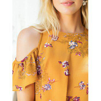 Floral Print Cold Shoulder Summer Blouse - SCHOOL BUS YELLOW S