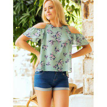 Floral Print Cold Shoulder Summer Blouse - MACAW BLUE GREEN L