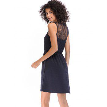 Lace Round Neck Pleated Sleeveless Dress - DEEP BLUE M