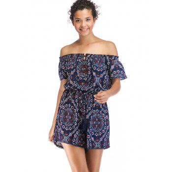 Buttons Off The Shoulder Printed Romper - multicolor A M