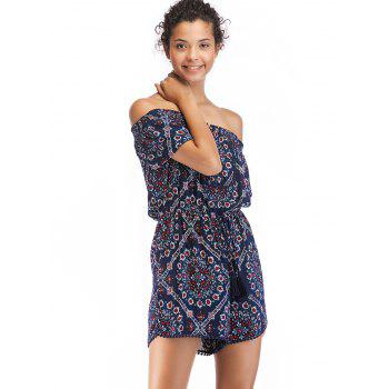 Buttons Off The Shoulder Printed Romper - multicolor A S