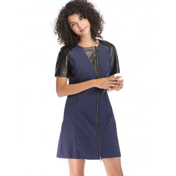 PU Patchwork Round Neck Zipper Detail Dress - DEEP BLUE L