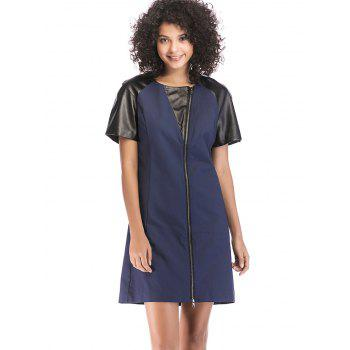 PU Patchwork Round Neck Zipper Detail Dress - DEEP BLUE S