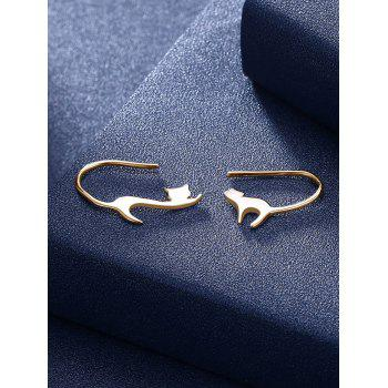 Unique Jumping Cat Embellished Hook Earrings - CHAMPAGNE GOLD