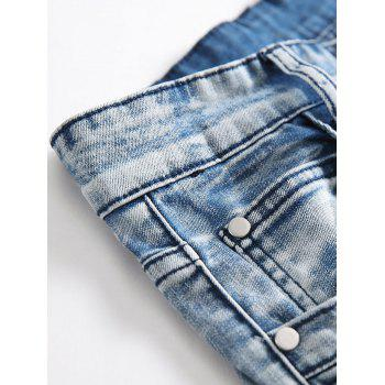Pleated Distressed Moto Biker Jeans - DENIM BLUE 32