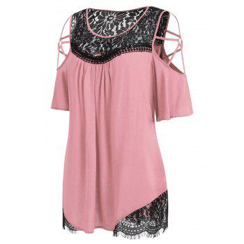 Plus Size Cold Shoulder Flare Sleeve T-shirt - LIGHT PINK 1X
