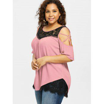 Plus Size Cold Shoulder Flare Sleeve T-shirt - LIGHT PINK 5X