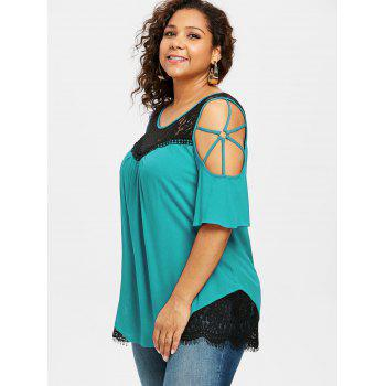 Plus Size Cold Shoulder Flare Sleeve T-shirt - MACAW BLUE GREEN 1X