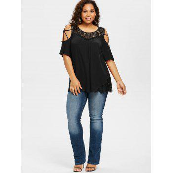 Plus Size Cold Shoulder Flare Sleeve T-shirt - BLACK 1X
