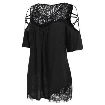 Plus Size Cold Shoulder Flare Sleeve T-shirt - BLACK 2X