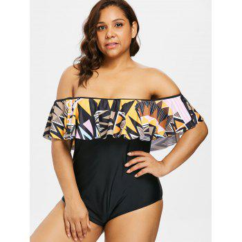 Plus Size Off The Shoulder One Piece Swimsuit - BLACK 2X