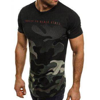 Letter Camo Print Short Sleeve T-shirt - ARMY GREEN 2XL