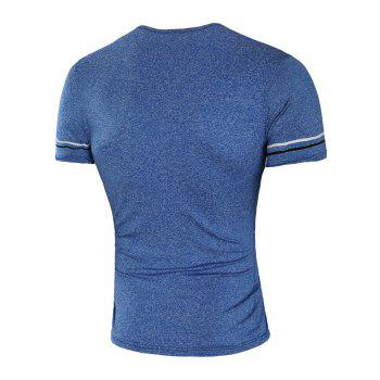 Round Neck Line Applique Casual T-shirt - BLUE XL