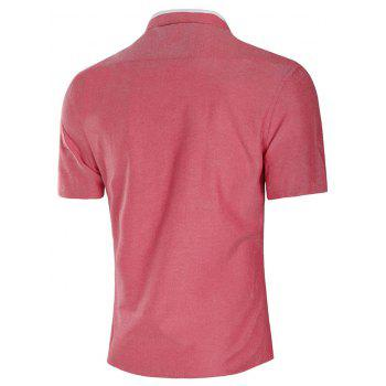 Casual Faux Pocket Short Sleeve Shirt - CHERRY RED 3XL