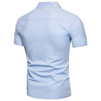 Solid Color Button Design Notch Neck T-shirt - LIGHT SKY BLUE M