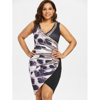 Plus Size Print Fitted Overlap Dress - BLACK 2X
