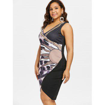 Plus Size Print Fitted Overlap Dress - BLACK 4X