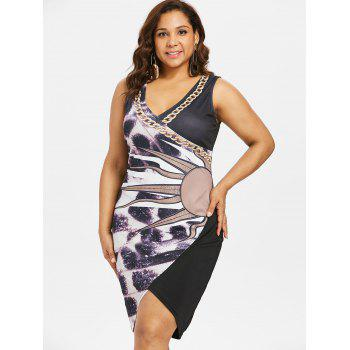 Plus Size Print Fitted Overlap Dress - BLACK L