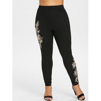 Plus Size Floral Embroidered Leggings - BLACK 1X