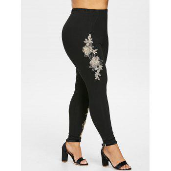 Plus Size Floral Embroidered Leggings - BLACK 3X