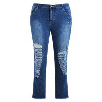 Plus Size Destroyed Raw Edge Jeans - DENIM DARK BLUE 4X