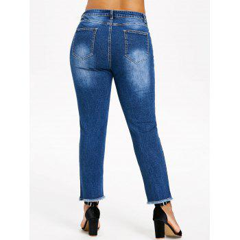 Plus Size Destroyed Raw Edge Jeans - DENIM DARK BLUE 2X