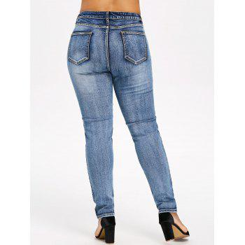 Plus Size Skinny Embroidered Jeans - DENIM BLUE 3X