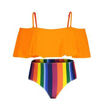 Plus Size Striped Cold Shoulder Bikini Set - ORANGE 4X