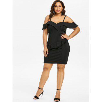 Plus Size Foldover Baring Shoulder Fitted Dress - BLACK L