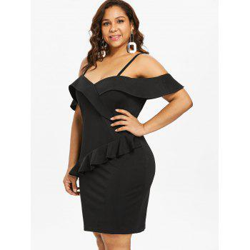Plus Size Foldover Baring Shoulder Fitted Dress - BLACK 5X