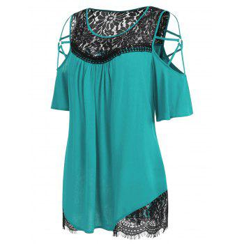 Plus Size Cold Shoulder Flare Sleeve T-shirt - MACAW BLUE GREEN 4X