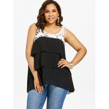 Plus Size Two Tone Tiered Tank Top - BLACK 2X