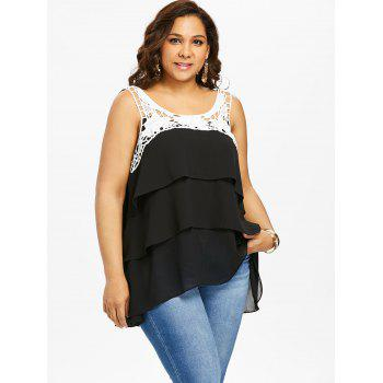 Plus Size Two Tone Tiered Tank Top - BLACK 4X