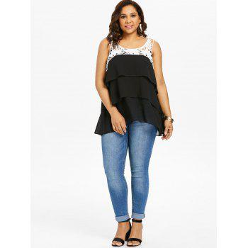 Plus Size Two Tone Tiered Tank Top - BLACK L
