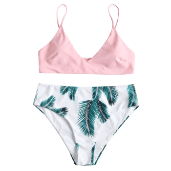 Leaf Print High Rise Plus Size Bikini Set - LIGHT PINK L