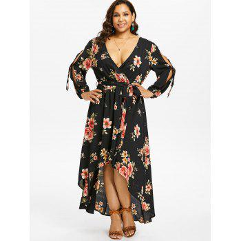 Plus Size Back Cut Out Floral Surplice Dress - BLACK L