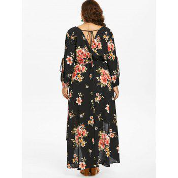 Plus Size Back Cut Out Floral Surplice Dress - BLACK 1X