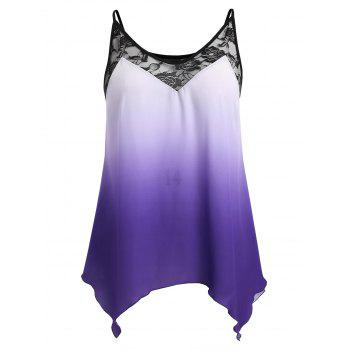 Plus Size Ombre Handkerchief Tank Top - PURPLE L