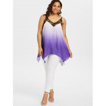 Plus Size Ombre Handkerchief Tank Top - PURPLE 1X