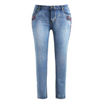 Plus Size Skinny Embroidered Jeans - DENIM BLUE L