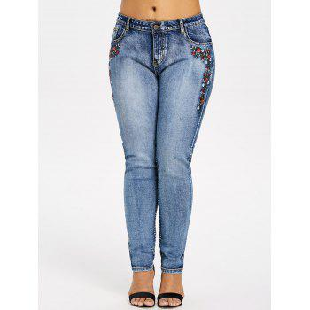 Plus Size Skinny Embroidered Jeans - DENIM BLUE 1X